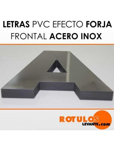 Letras forja pvc frontal acero