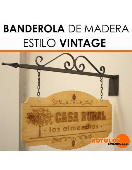 Banderola vintage de madera dos caras