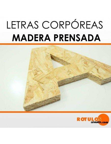 Letras corpóreas de madera prensada