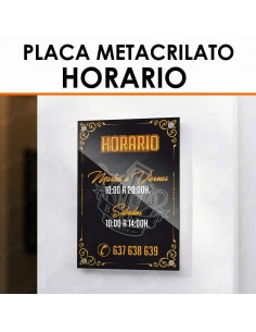 Placa metacrilato horario