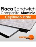 Panel Sandwich Aluminio Cepillado Plata