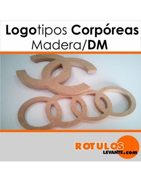 Logotipo de madera o DM