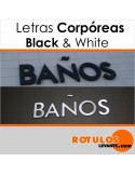 Letras corpóreas black & white