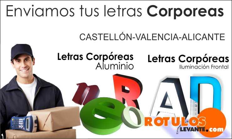 Letras corpóreas en Castellón, valencia, alicante