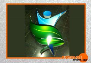 Logotipo de aluminio iluminación frontal