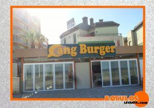 Letras aluminio restaurante Cang Burguer