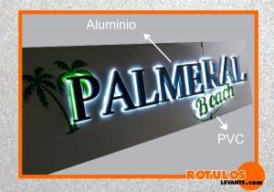 Letra retroiluminada pvc+aluminio