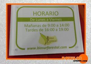 Placa de horario tienda
