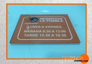 Placa horario metacrilato